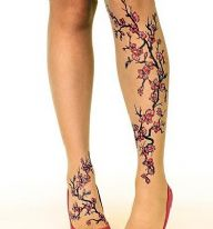 Stop and Stare Tattoo Tights with Cherry Blossom